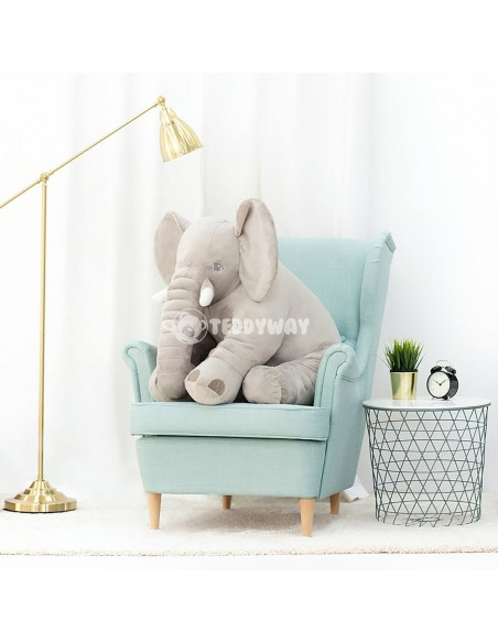 Grey Giant Plush Elephant – 85 Cm – 33 Inch – HoGo Giant Stuffed Elephants
