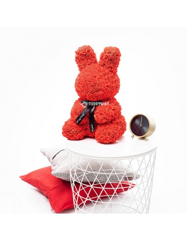 Red Rose Bunny 40 CM – 16 Inch – Oki Rose Bears - Rose Teddy Bears - Flower Teddy Bears